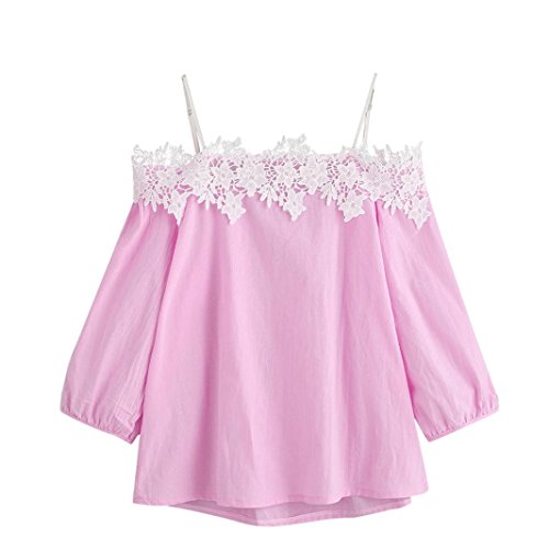 Lace Puff Short - Women Blouse Daoroka Ladies Sexy Off Shoulder Strap Lace Short Puff Sleeve T Shirt Casual Loose Cute Solid Tops (XL, Pink)