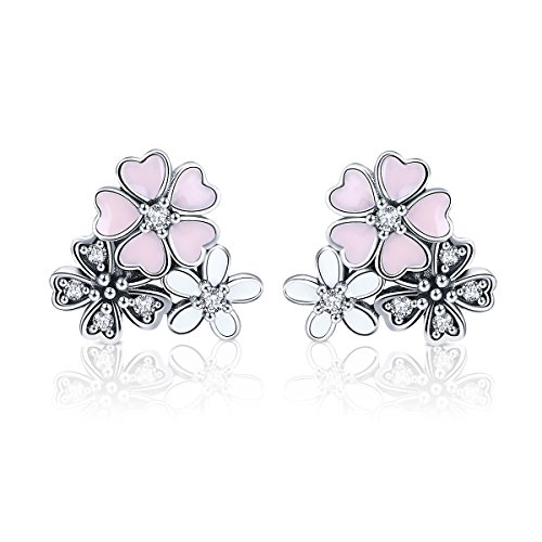 Daisy Cherry Blossom Flower Stud Earrings 925 Sterling Silver Pink Enamel CZ Earring Studs Post for Women Girls ()
