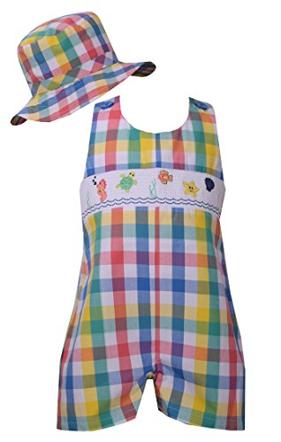 Bonnie Jean Little Boys Buffalo Check Smocked Shortall and Matching Hat, 18M