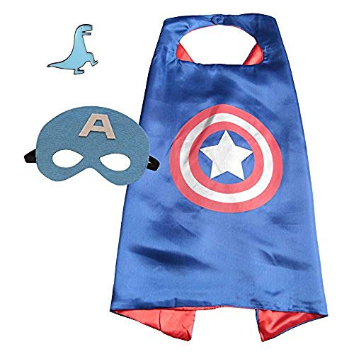 Superhero Cape and Mask Costume for Kids with Pin (Captain America) ()