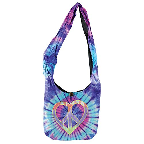 Peace Heart Tie Dye Hobo Shoulder Bag Hippie Boho Bohemian Handbag Purse