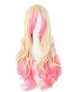 63cm Long Zipper Beige+pink Wavy Cosplay Hair Wig Rw157