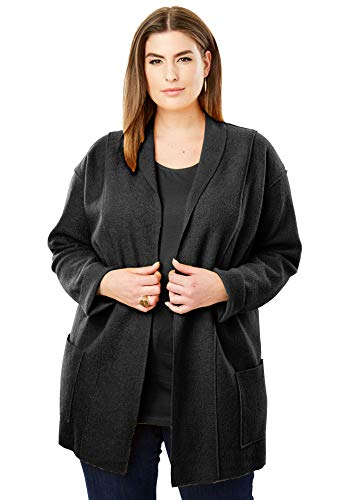 Jessica London Women's Plus Size Boiled Wool Shawl Collar Jacket - Black, 14/16