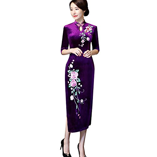 ZooBoo Chinese Cheongsam Qipao Dress - Oriental Traditional Wedding Outfit Clothing Costume for Girls Women - Velvet (L, Purple) -
