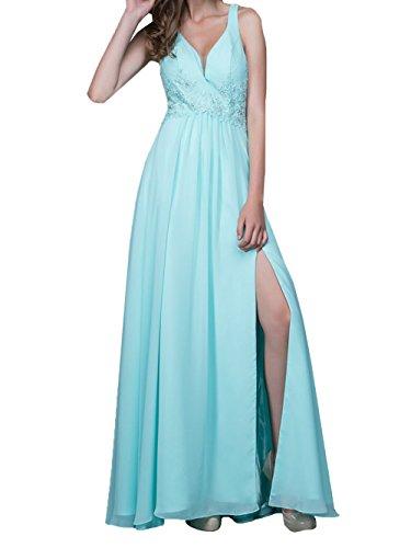 Festlichkleider Damen Abendkleider A Lang Stickreien Blau Chiffon Kleider Linie mit Hell Jugendweihe Ballkleider Charmant qXRdfxwx