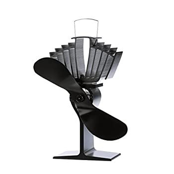 Image of Ecofan AirMax Wood Stove Fan, Large, Black Blade Home and Kitchen