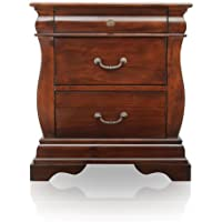Furniture of America Hendrike Curvy 3-Drawer Nightstand, Dark Walnut Finish