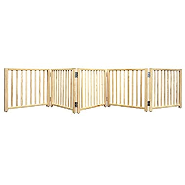 Four Paws Wood Folding 5 Panel Dog Gate 48, 110 x 17  H