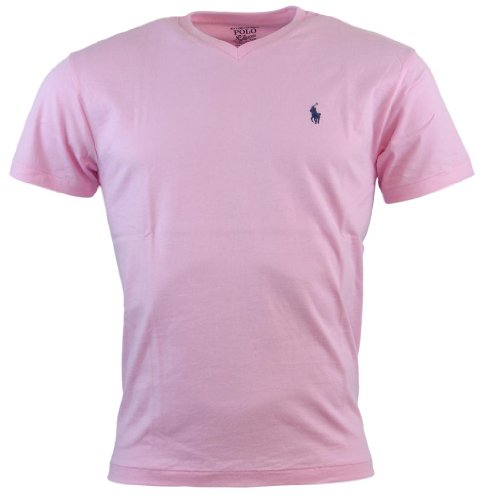 Polo Ralph Lauren Mens Classic Fit V-Neck T-Shirt (Pink Blush/Lavender Pony, XL) ()