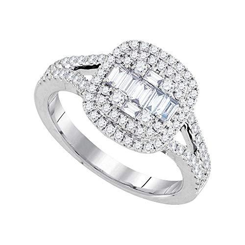 18kt White Gold 18kt White Gold Baguette Diamond Cluster Bridal Wedding Engagement Ring - Ct 0.75 Baguette Diamond