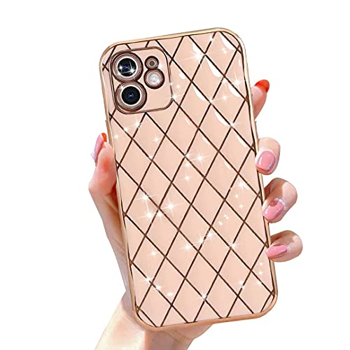 Gimigo Designed for iPhone 12 Case for Women/Girl, Cute Sparkle Luxurly Plating Lattice Design, Full Camera Lens Protection + Shockproof Edge Bumper TPU Cover Case for iPhone 12 [6.1 inches] -Pink