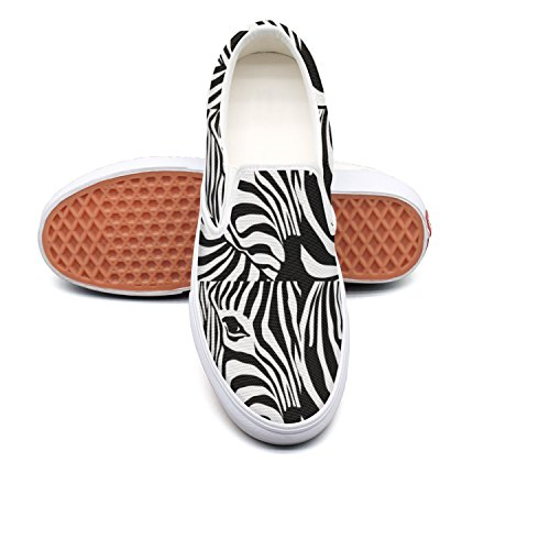 Fashion Stripe Sneaker Zebra Low Black Lightweight on And Black White Zebra Top and Canvas Slip Womens tw4HgXq