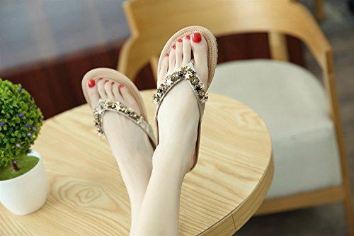 D'été Semaine De Perlé Pantoufles Bohème Argent Sandales Sandales Plage XIAOQI Pentacle Vacances Doux Décoration Plat Mode Femmes Confort Uq5wxd5