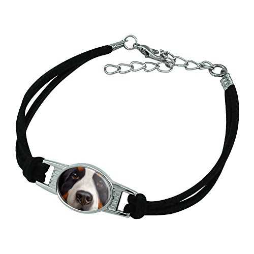 Graphics and More Bernese Mountain Dog Face Closeup Novelty Suede Leather Metal Bracelet - Black