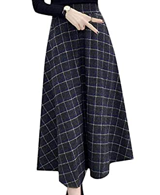 Highisa Womens Fall Winter Vintage A-line Plaid High Waist Mid Long Skirt