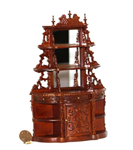 (Dollhouse Miniature Victorian Hand Carved Walnut Display Cabinet or Buffet)