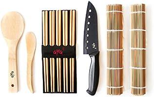 Aya Sushi Making Kit - Original Bamboo Kit with Sushi Chef Knife - Online  Video Tutorials - 2 Rolling Mats - Paddle & Spreader - 5 Pairs of  Chopsticks