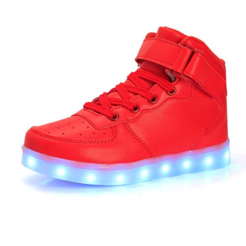 High Top Led Light Up Shoes 7 Colors Flashing Rechargeable Sneakers for Mens Womens Girls (Girls Sheos)