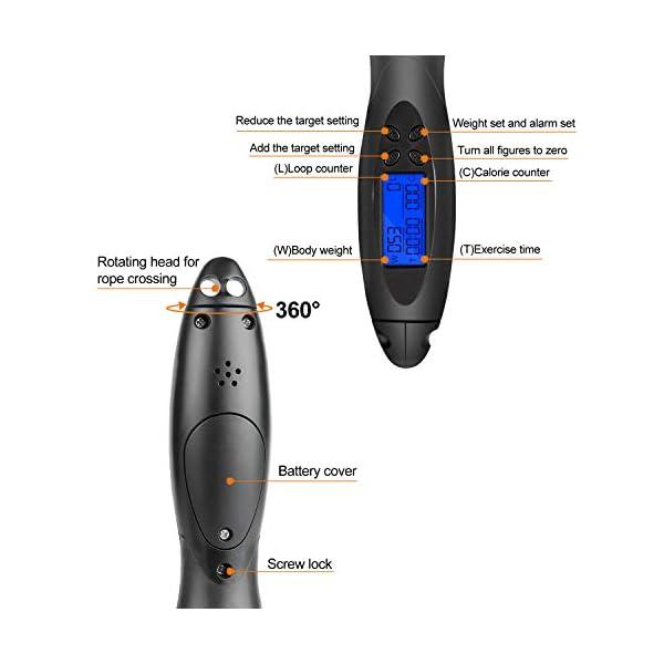 TOQIBO Corde à Sauter sans fil, Digital Corde à sauter réglable, compteur de calories Jump Cordes à sauter, LCD écran…