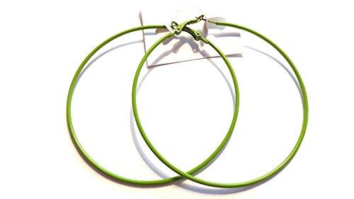 Large Color Hoop Earrings 3 Inch Hoop Earrings Thin Color Hoop Earrings (Green)
