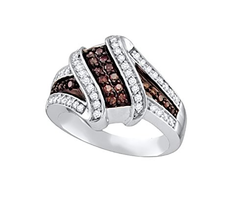Brandy Diamond Chocolate Brown 10k White Gold Ribbon Design Fine Ring 1/2 - Ring White Gold Ribbon