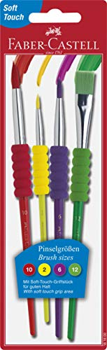 Faber-Castell Soft Grip Paint Brush Set - Kids Paint Brushes - 4 Pack