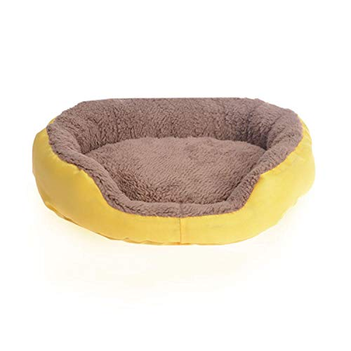 Retro Square Pet House Bed Candy Color Dog Cat Sofa Cushion Bed Breathable Soft Pet Nest for Small Medium Dog Warm Bed Mat S3,Yellow,S