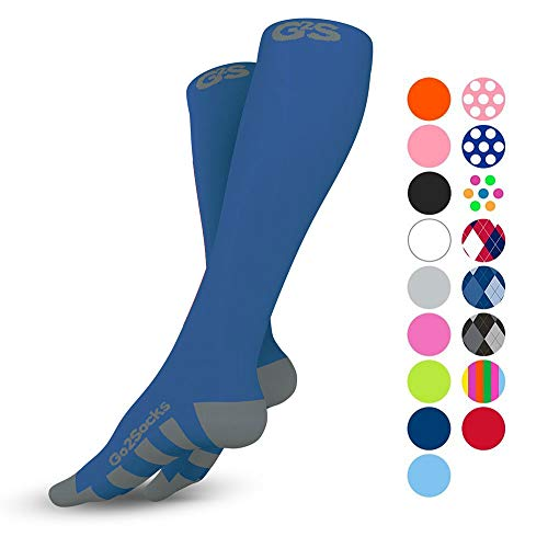 - Go2Socks Compression Socks for Men Women Nurses Runners 20-30 mmHg (high) - Medical Stocking Maternity Travel - Bet Performance Recovery Circulation Stamina - (2Blue,S)