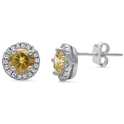 Zirconia Stone Cubic Champagne Color (Solid Sterling Silver Hypo Allergenic Cubic Zirconia & Simulated Gemstone HALO Stud Earrings BIRTHSTONE COLORS AVAILABLE! (Champagne Cubic Zirconia))