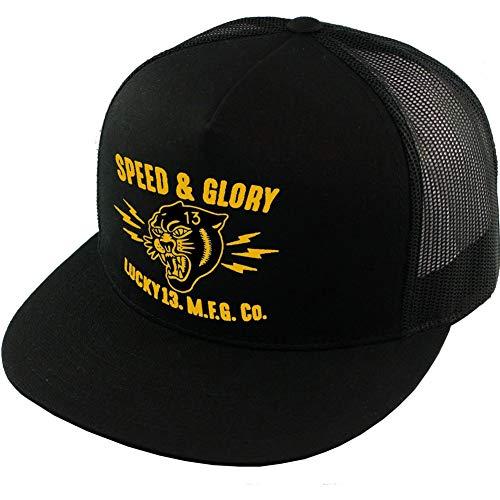 Lucky 13 Panther Head Poplin Mesh Trucker Cap Black/Gold
