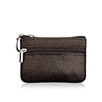 Genuine Leather Coin Pouch Mini Purse Card Wallet with Key Ring and Zipper