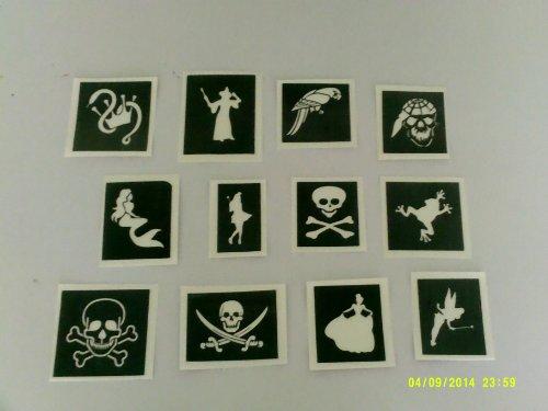 30 x Pirate & Princess themed stencils for glitter tattoos / many other uses! mermaid, skull & crossbones, - Crossbones Stencil