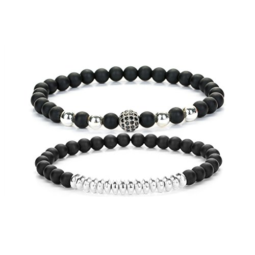 Joya Gift Beads Bracelet Set for Men with Black Onxy Crown Tiger Head Charm Handmade Jewelry (Silver)