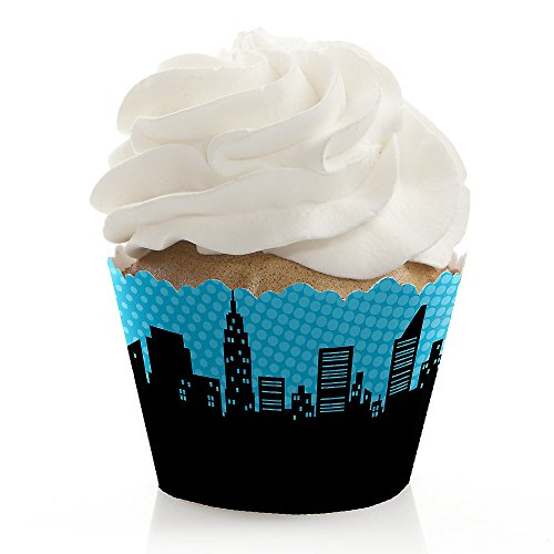 Big Dot of Happiness Bam Superhero - Baby Shower or Birthday Party Decorations - Party Cupcake Wrappers - Set of 12 -
