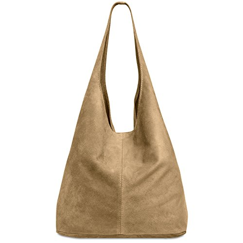 CASPAR TL767 large Women Suede Leather Shopper Camel