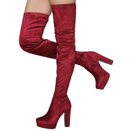Besonon EJ20 Frauen Seitlicher Reißverschluss Chunky Heel Stretchy Snug Fit Oberschenkel Hohe Stiefel Wein Wildleder