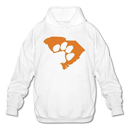 Clemson Tigers Sunshade (Tjame Men's Carolina Clemson Tigers Map Paws Logo Hoodies Sweatshirt White)