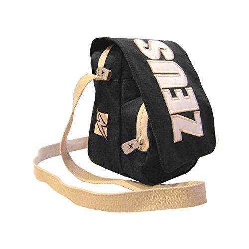 Zeus Bolsa Bandolera para hombre Running Training Fitness Fútbol Sport Bag City 11x20x15 cm (NEGRO-GRIS) NEGRO GRIS