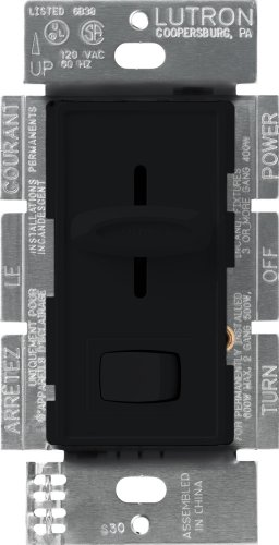 Lutron S-600P-BL Skylark 600-watt Single Pole Dimmer with On/Off Switch, Black Fan Dimmer Switches