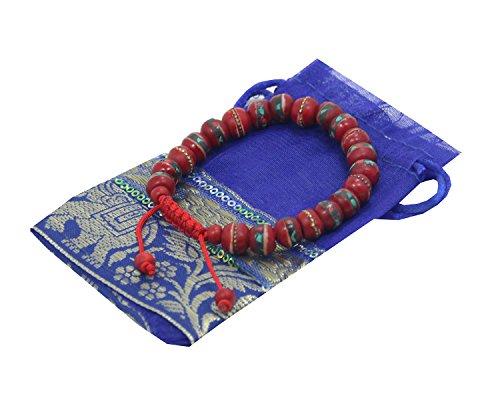 - Tibetan Wrist Mala ~ Yak Bone, Turquoise, Coral, Copper, White Metal, & Brass ~ Healing Bracelet Free Mala Bag (Red)