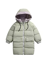 Boy Girls Mid-long Hooded Thick Puffer 90% White Duck Down Jacket 2-7T