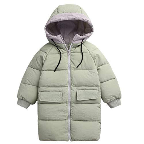 RUI-CHENG Big Girls' Winter Down Jacet Puffer Coat Padded Winter Overcoat Kids Packable Soft Lightweight Down Jacket Green 1-2Y]()
