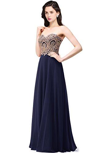 - Babyonlinedress Formal Dress Women Sweetheart Bridesmaid Chiffon Prom Dress Evening Gown,Navy,10
