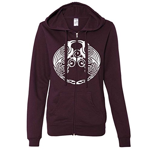 Dual Raven White Print Ladies Zip-Up Hoodie - Light Blackberry X-Large (What Does Red Roses Represent)
