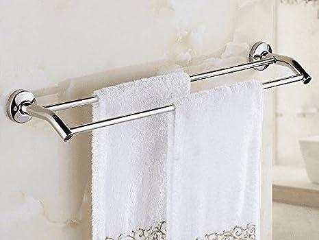 Accesorios de baño Yomiokla - Toalla de metal para cocina, inodoro, balcón y bañoOro rosa de cobre adornos de cristal doble barra: Amazon.es: Bricolaje y ...