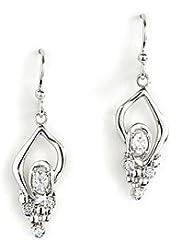 Jody Coyote Earrings Geode Collection Geo-0113-05 Cz Cubic Zirconia Silver