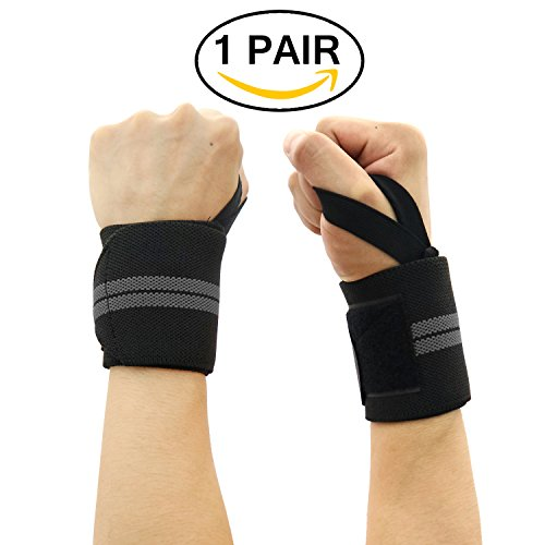 Wrist Wraps, BULESK Wrist Support Braces for Men&Women,Strength Wraps for Bodybuilding,Powerlifting,Weight Lifting, Xfit, Crossfit,Gym (1 Pair)