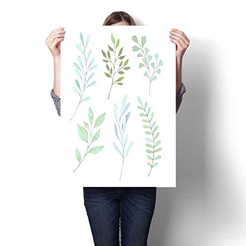 (Canvas Wall Art Hand drawn watercolor illustrations Botanical clipart Set of Green leaves herbs and branches Floral Design elements Perfect for wedding invitations greeting cards blogs posters)
