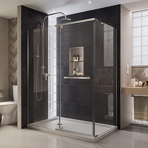 DreamLine Quatra 32 5/16 in. D x 46 5/8 in. W x 72 in. H Frameless Pivot Shower Enclosure in Brushed Nickel, SHEN-1132460-04