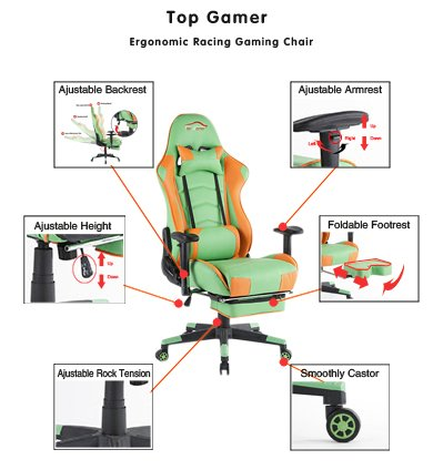 41tOknqq7SL - Ergonomic-Gaming-Chair-High-Back-Game-Chair-with-FootrestOrangeGreenBlack